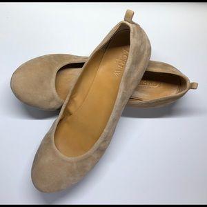 J. Crew Neutral Suede Ballet Flats 9 1/2